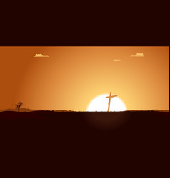 christian cross inside desert landscape vector image