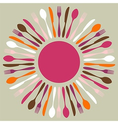 Colorful cutlery restaurant mandala vector image