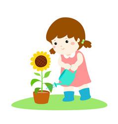 girl watering sun flower cartoon vector image
