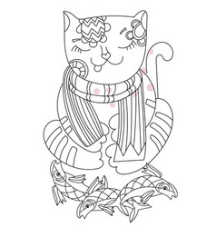 hand drawn doodle outline cat vector image