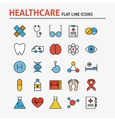 Line Health Care and Medicine Colorful Flat Icons vector image vector image