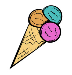 Mixed ice cream scoops in cone icon cartoon vector