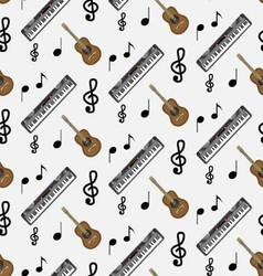 Pattern guitar synthesizer and notes vector image