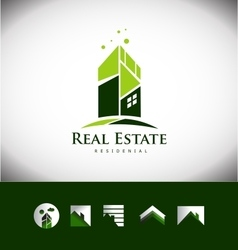 Real estate building house roof logo icon set vector image vector image