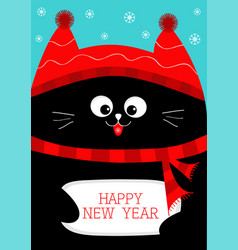 black cat holding happy new year cute funny vector image vector image