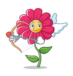 cupid pink flower character cartoon vector image
