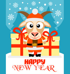 happy new year card with goat santa claus vector image vector image
