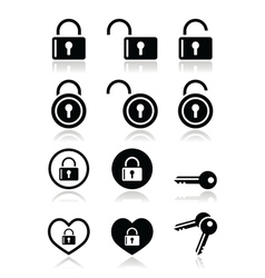 Padlock key icons set vector image