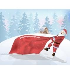Santa Claus is a big bag of gifts vector image vector image