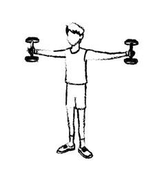 sketch boy sport gym barbell bodybuilder vector image vector image