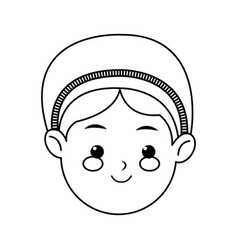 cartoon face woman manger christmas line vector image vector image