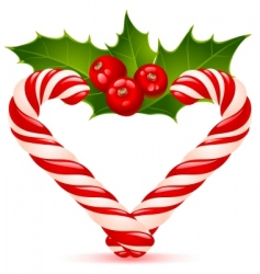 Christmas heart candy canes vector