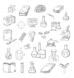 Scientist with laboratory research sketch icons vector image vector image