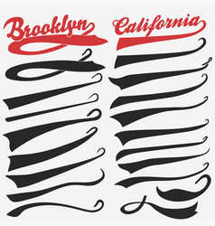 swooshes set for athletic typography vector image vector image