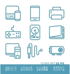 Technology and hardware icons vector