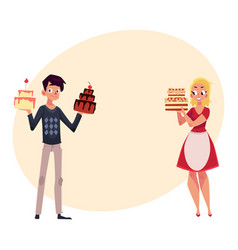 young couple parent man and woman holding vector image