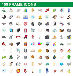 100 frame icons set cartoon style vector image vector image