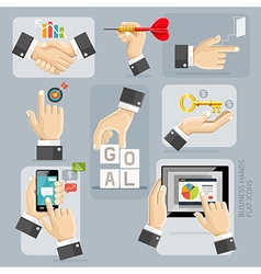 Business Hands Flat Icons Set vector image