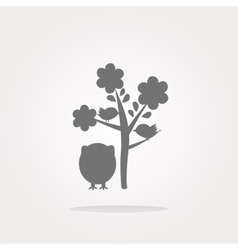 button with owl and tree isolated on white vector image vector image