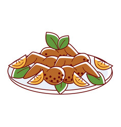chicken masala with lemon slices and oregano vector image