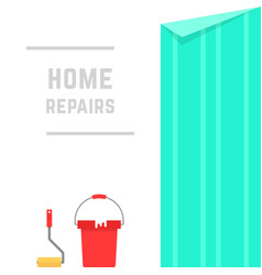 home repairs with hanging wallpaper vector image