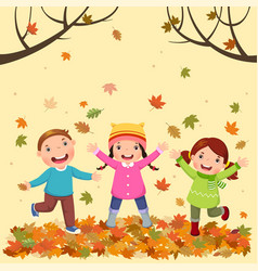 kids playing outdoors in autumn vector image