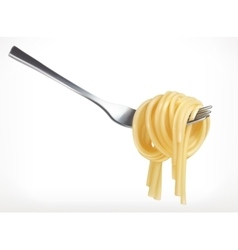 Pasta on fork icon vector image vector image