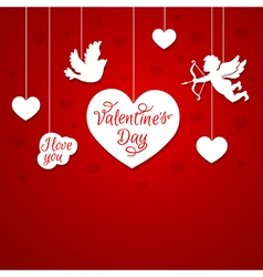 Red romantic background with cupid vector image vector image