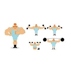 Retro athlete set poses Ancient bodybuilder with vector image