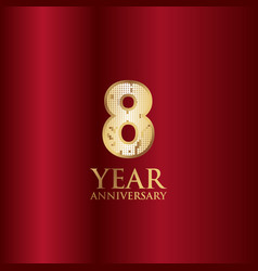 8 year anniversary gold with red background vector