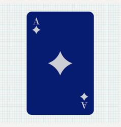 Ace diamonds blue icon on lined paper vector
