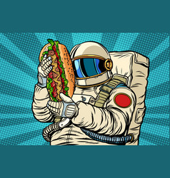 Astronaut with a hot dog street fast food vector