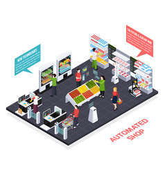 automated shop isometric composition vector image