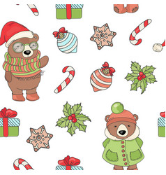 bear year seamless pattern il vector image