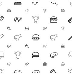 Beef icons pattern seamless white background vector