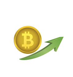 bitcoin symbol with green arrow vector image