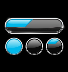 black and blue buttons set vector image