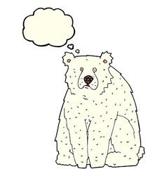 Cartoon funny polar bear with thought bubble vector