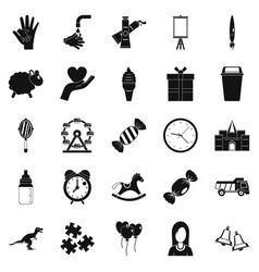 center icons set simple style vector image