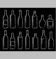 chalk bottle icons set vector image