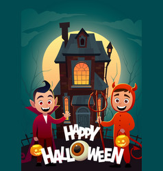 children in monster costumes dracula and devil at vector image