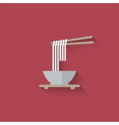 Chinese noodles with chopsticks vector