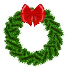 Christmas fir tree wreath vector