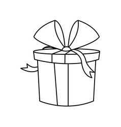 christmas gift box wrapped bow outline vector image vector image