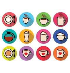 Coffee icons set in color vector image