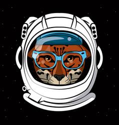 Cool leopard on astronaut helmet print for t shirt vector