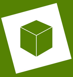 Cube sign white icon vector