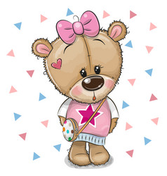 Cute teddy bear with a bow on a white background vector