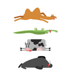 Dead animals set 4 camel and crocodile cow and vector