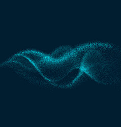 Digital flow wave with particles in motion vector